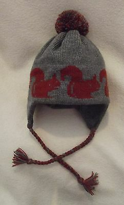 SQUIRREL NEW knitted lined ADULT SIZE GREY TRAPPER EAR FLAP HAT