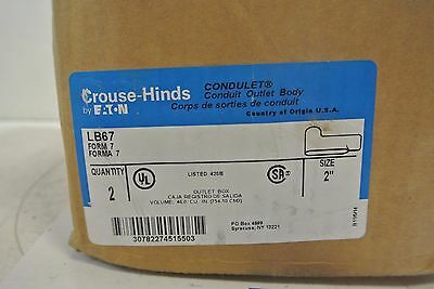 "Crouse Hinds LB67 2"" Conduit Body Elbow w/ Cover NEW IN BOX QTY: 2"