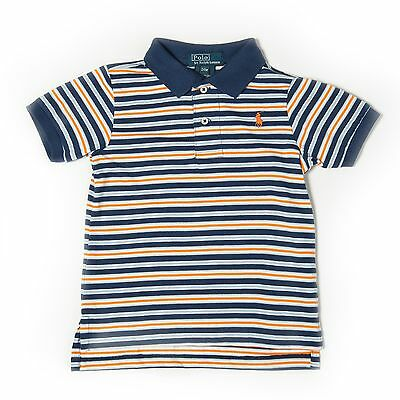 New Ralph Lauren Boys Kids Small Pony Striped Polo Shirt Navy Age 24 Months