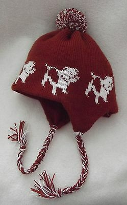 BULLDOG dog NEW knitted lined  RUST ADULT SIZE TRAPPER EAR FLAP HAT