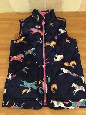 Girls Joules Navy Pink Pony Horses Quilted Gilet Age 6 Years