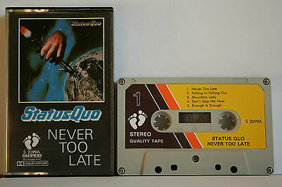 Status Quo  Never Too Late  Kassette Cassette MC Tape see Photo's