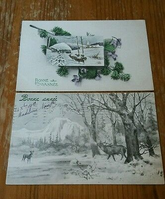 Vintage GORGEOUS French postcards of Deer dated 1910s