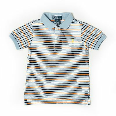 New Ralph Lauren Boys Kids Small Pony Striped Polo Shirt Blue Age 18 Months