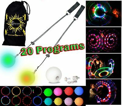 LED Poi - Glow Poi - MULTI-FUNCTION 20 Programs LED Glow Poi by Flames N Games +