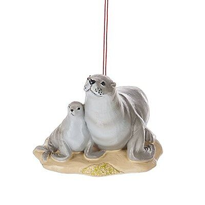 Sea Lion with Baby Resin Stone Christmas Ornament Figurine