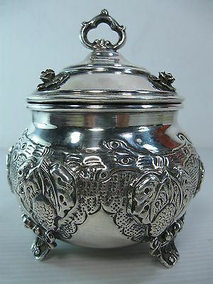 A Beautifully Made And Decorated Silver Bowl & Lid With A Removable Glass Cup