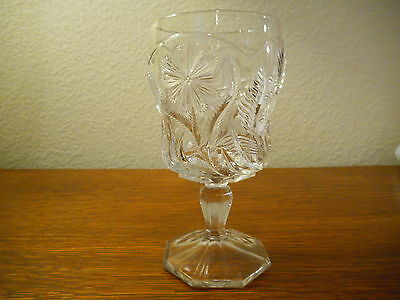 EAPG Goblet, Daisy Button Narcissus Pattern Indiana Glass, 1920s, Pattern Glass