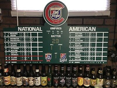Chicago Cubs Wrigley Field Scoreboard Clock Old Style Beer Bryant Rizzo MANCAVE