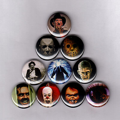 "HORROR ICONS 1"" PINS BUTTONS nightmare elm friday 13th thing it halloween poster"