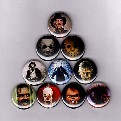 HORROR ICONS - PINS BUTTONS (nightmare elm friday 13th thing it halloween poster