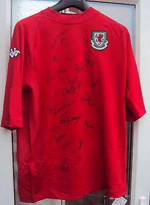 Wales Football Shirt With Tags With Several Autographs Including Joey Jones