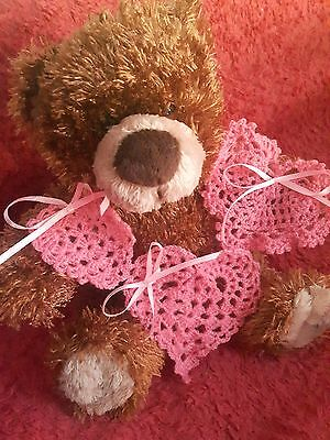 Set of 3 hand crochet pink hearts Valentines day Love New year Christmas gift