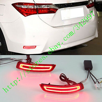 2x LED Rear Bumper Reflector Surface emission Light For Toyota Corolla 2014-2016