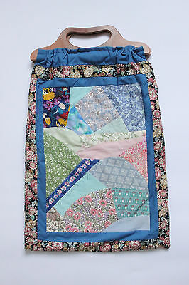 Large Vintage Blue Crazy Patchwork Knitting Sewing Craft Bag with Carry Handles