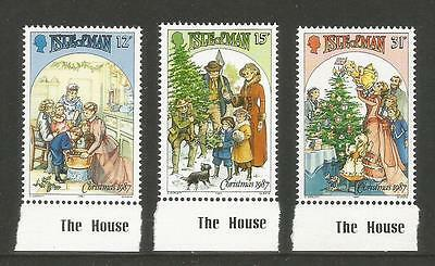 Isle of Man 1987 Christmas/Holiday Scenes--Attractive Art Topical (344-46) MNH