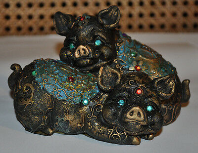Collectable Vintage Regency Fine Arts Ceramic Lucky Pigs Figurines (Blue)