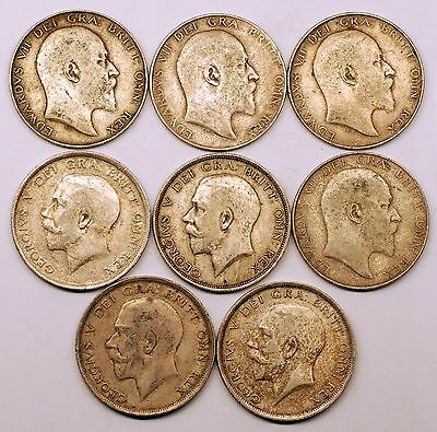 Assorted Lot Of 8   1/2 Half Crown Coins   Lb#40