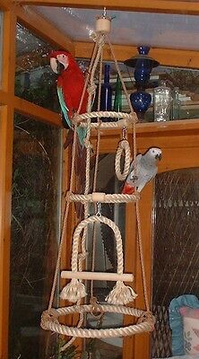 New Natural Sisal Rope Perch Parrot Toy Swing Rings With Bell
