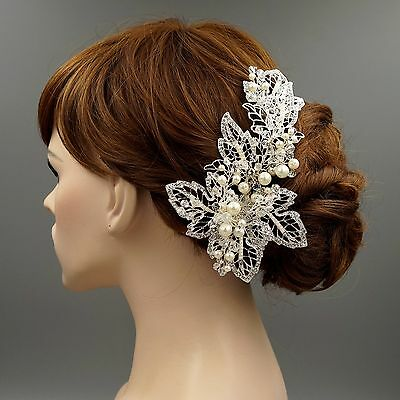 Bridal Hair Clip Pin Pearl Crystal Headpiece Headband Wedding Accessory 09280 S