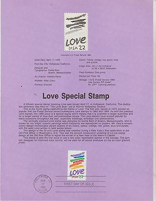"""Commemorative Souvenir 1985, """"Love"""", First day of issue, Scott # 2143"""