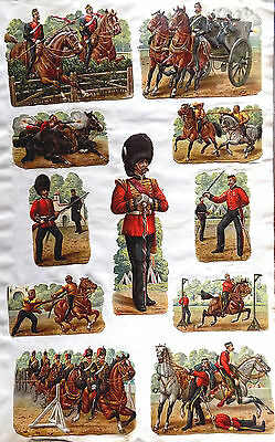 c1890 VICTORIAN DIE-CUT SCRAP ALBUM PAGE ~ DRAGOONS/LANCERS/SCOTS GREYS++ c1880