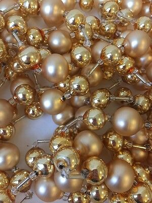 Vtg Christmas Tree Glass Ball And Bead Garland Champagne Gold 3 Strands 300""