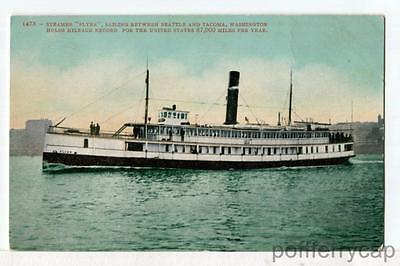 S.S. FLYER on Puget Sound 1907-15 Seattle-Tacoma WA Ships Boats Postcard