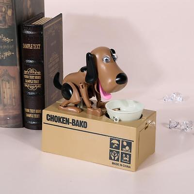 Lovely Kids Dog Puppy Stealing Coin Money Penny Cents Animal Bank Saving Box