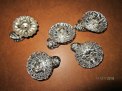 ANTIQUE / VINTAGE Christmas Tree Silver Candle holder clips  lot of 5