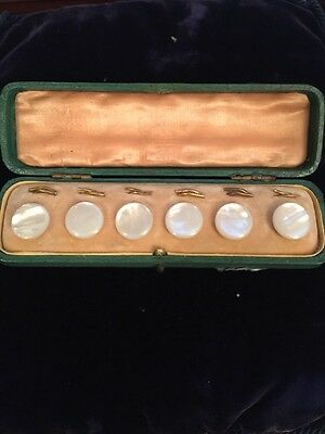 Antique Cased Set Of Six Mother Of Pearl Buttons And Rings