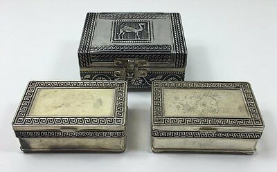 3 Small White Metal & Silver Plate Trinket Jewellery Boxes - Embossed Camel