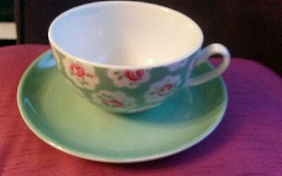 Cath Kidston green floral Provence  cup and saucer
