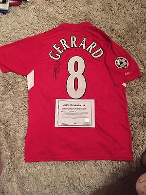 Liverpool 2005 Champions League Winner Shirt Signed By Gerrard. Comes With COA