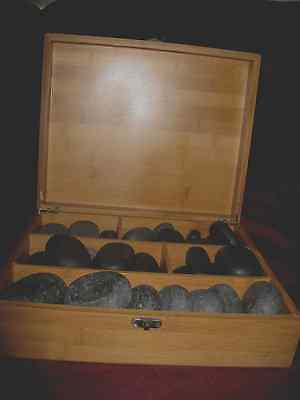 Hot/cold massage stones by Feelgood UK in wooden box