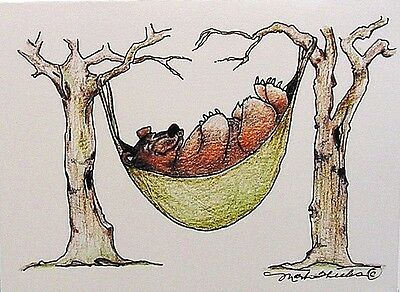 Art Greeting Card Drawing Picture Bear Hammock Trees Relax Illustration Garden