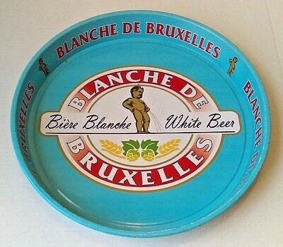 "Vintage Blanche De Bruxelles White Beer Round 14"" Painted Metal Serving Tray"