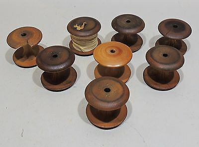 "Antique Primitive Hardwood Apple Core Spools Lot of 8 Posible Shaker 1.625"" High"
