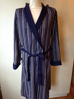 Vintage M& S Blue Stripe Polyester  Dressing Gown Large 44- 46 Chest