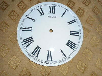 "For American Clocks-Round Welch Paper Clock Dial- 6"" M/T- Roman- Clock Parts"