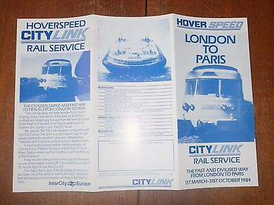 Hover Speed London to Paris City Link Rail Service leaflet 1984