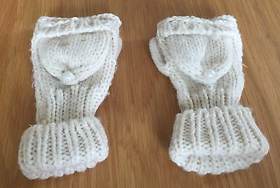 Girls Cream Mittens
