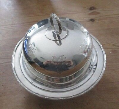 Silver Plated Covered Bowl  /  Muffin Dish /  Small Serving Dish
