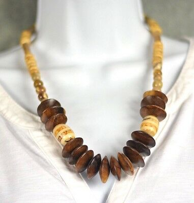 """Wood With Polish Stone Necklace Made In India 24"""""""