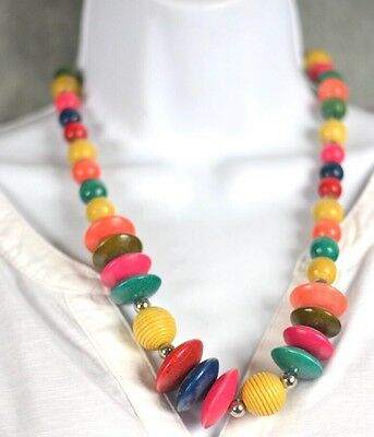 """Wood Necklace Made In India Multi Color 24"""""""