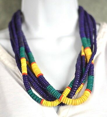 """Wood Necklace Made In India Multi Color 24"""" Twist Neckalce"""