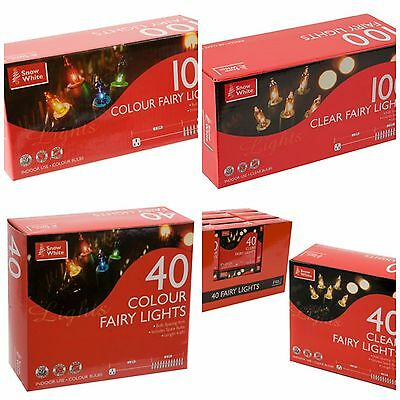 Christmas Xmas Tree Fairy Lights 40 100 Clear Colour Indoor String Decorations