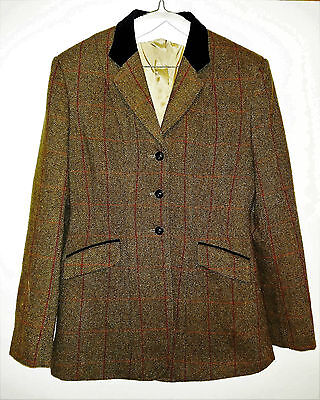 Womens Equetech Tweed Hacking Jacket Size 36 Inch (12) Worn Once