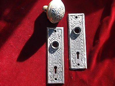 3 Piece East Lake Door Hardware Group-Door Knob & Lock Plates Original Patina