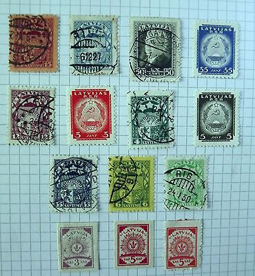 Collection of 14 stamps from Latvia.